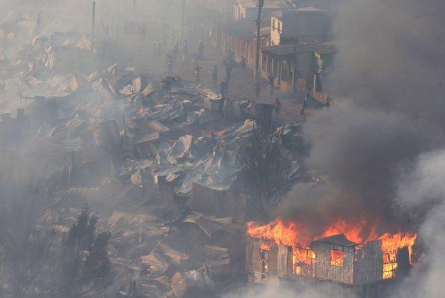 Incendio en Valparaíso, en Chile
