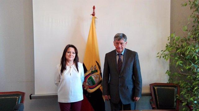 Embajador Miguel Calahorrano y cónsul general de Ecuador en Madrid
