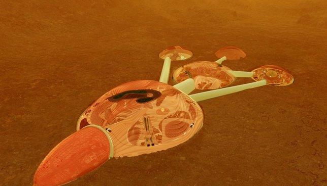 Aspecto de la futura ciudad de Marte