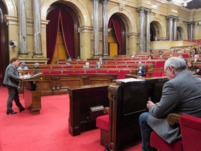 La consellera Dolors Bassa en el pleno del Parlament