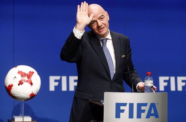 Gianni Infantino en la sede de la FIFA