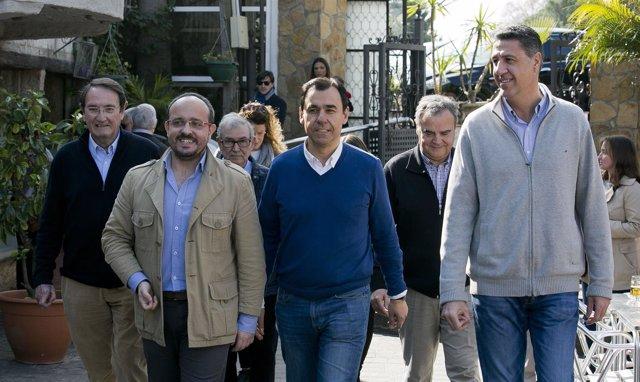 Alejandro Fernández, Fernando Martínez-Maillo y Xavier García Albiol (PP)