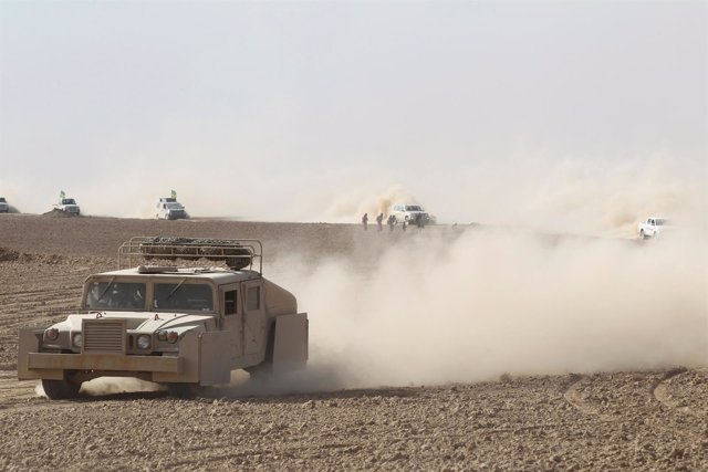 Popular Mobilization Forces (PMF) take part in an operation against Islamic Stat