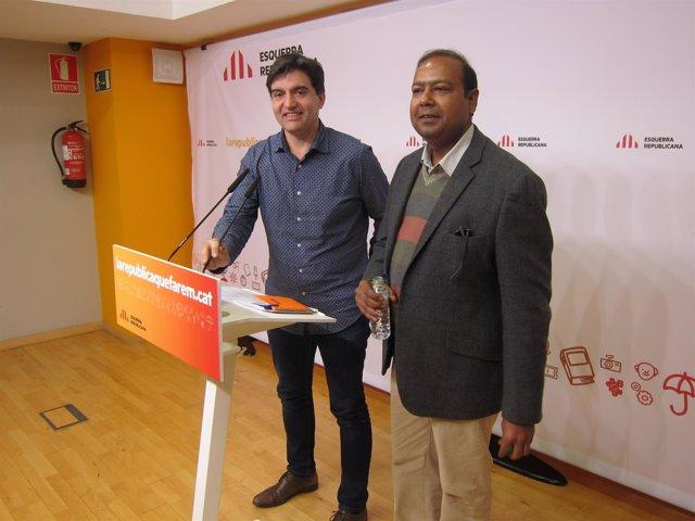 El portavoz S.Sabrià y el senador R.Masih (ERC)