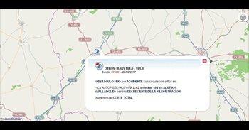 Reabierta la A-62 en Alaejos (Valladolid), cortada tras el vuelco de un...