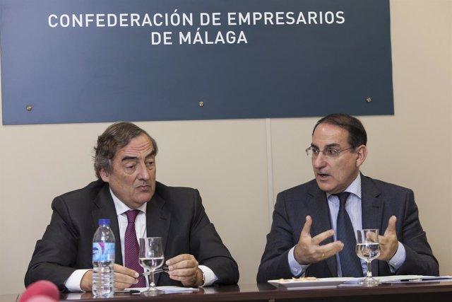 Javier González de Lara y Juan Rosell en una reunión en Málaga