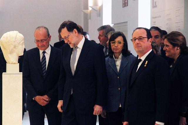 Rajoy y Hollande visitan el Museo de Málaga
