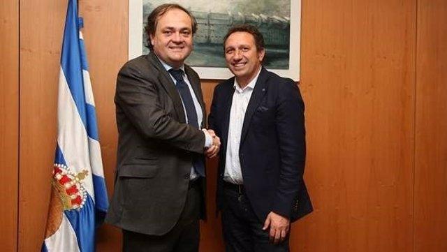 El presidente de la Real Sociedad, Jokin Aperribay, y Eusebio Sacristán