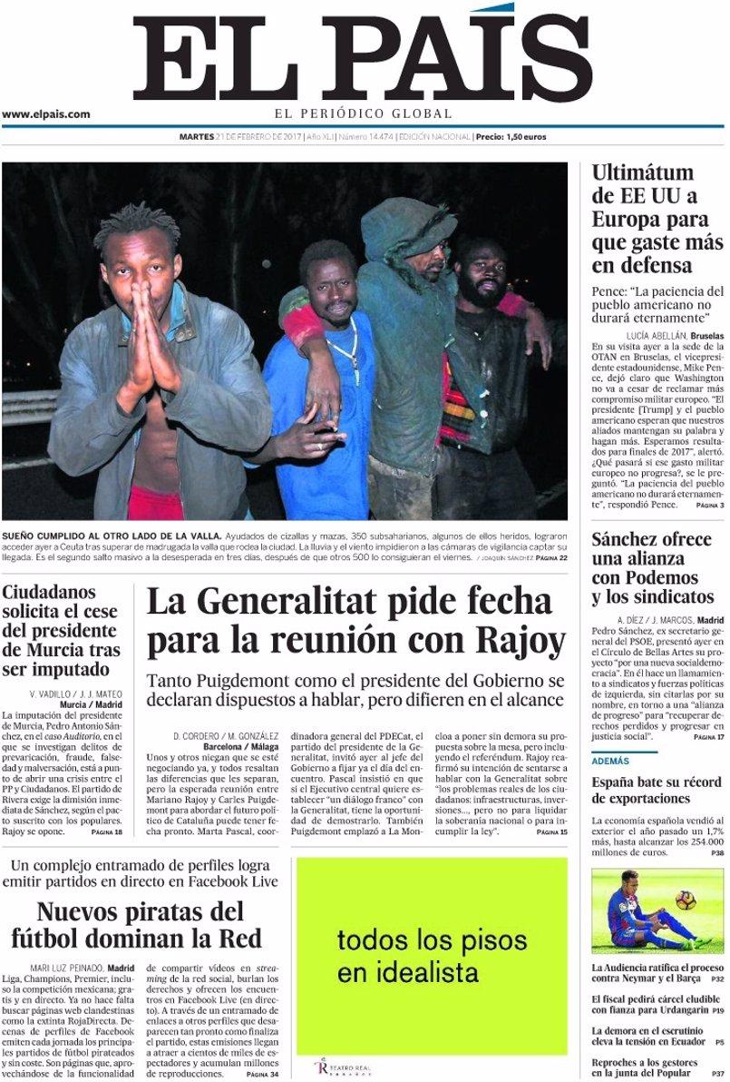 Las portadas de los periódicos de hoy, martes 21 de febrero de 2017