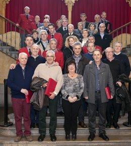 Beaumont junto con los agentes homenajeados, mandos y antiguos compañeros