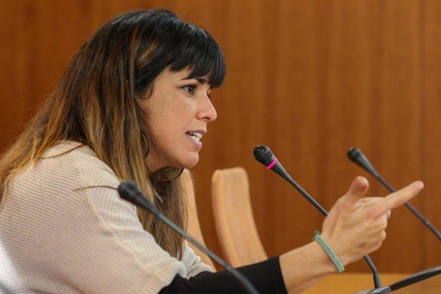 La coordinadora general de Podemos,Teresa Rodríguez, en rueda de prensa
