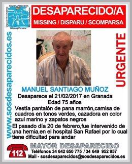 Anciano de 75 años desaparecido en Granada
