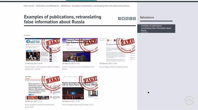 Captura de pantalla de la sección de 'noticias falsas' de la web Mid.Ru