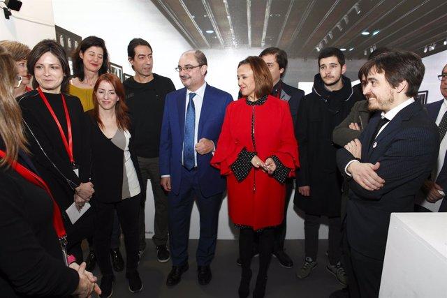 Javier Lambán y Mayte Pérez junto a creadores aragoneses en ARCO