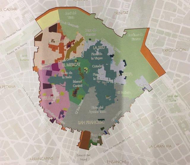Mapa de Ciutat Vella y ámbito de aplicación de su Plan Especial de Protección