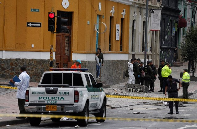 Police work the scene where an explosion occurred near Bogota's bullring, Colomb