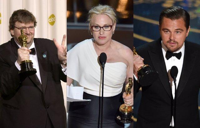 Michael Moore, Patricia Arquette, Leonardo DiCaprio