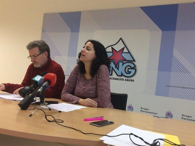La diputada del BNG, Noa Presas, con el líder de la CIG, Suso Seixo