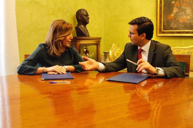 Susana Díaz y Francisco Cuenca, reunidos en Granada