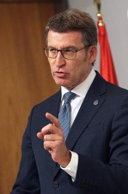 El presidente de la Xunta, Alberto Núñez Feijóo, tras el Consello de la Xunta