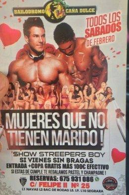 Cartel de una discoteca de Barcelona