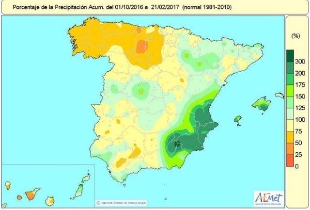 Distribución de las lluvias acumuladas en España desde octubre de 2016 a 21-2-17