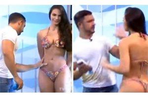 El enfado de una modelo brasileña en un programa tras ser manoseada en directo
