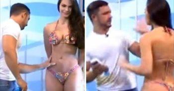 El enfado de una modelo brasileña en un programa tras ser manoseada en...