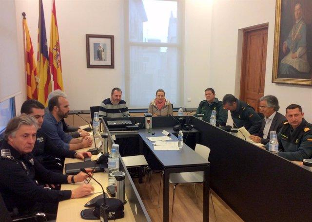 Maria Salom en la junta local de seguridad de Felanitx