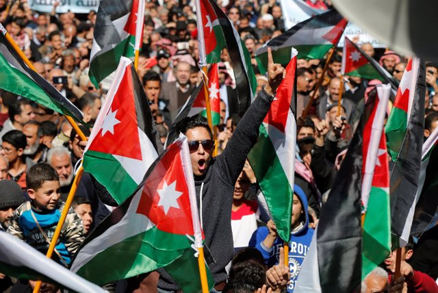 Manifestantes en Aman, Jordania