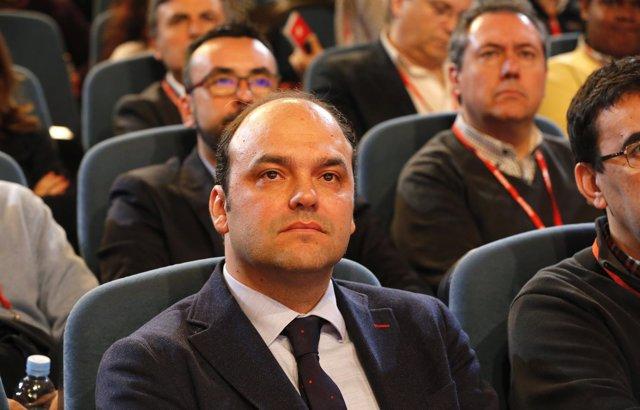 El economista José Carlos Díez durante la ponencia económica del PSOE