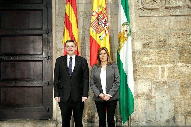 La presidenta de Andalucía ha sido recibida por el presidente Ximo Puig