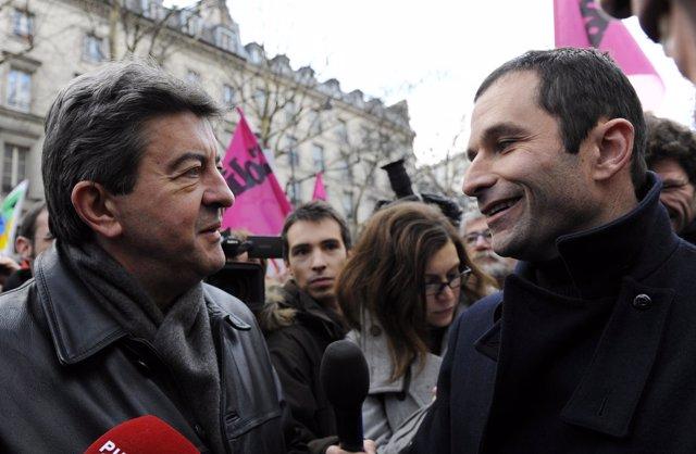 Los candidatos Benoit Hamon y Jean-Luc Mélenchon
