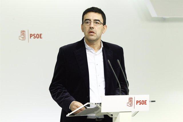 Rueda de prensa de Mario Jiménez en la sede del PSOE