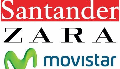 Santander, Zara y Movistar, las marcas más valiosas de España