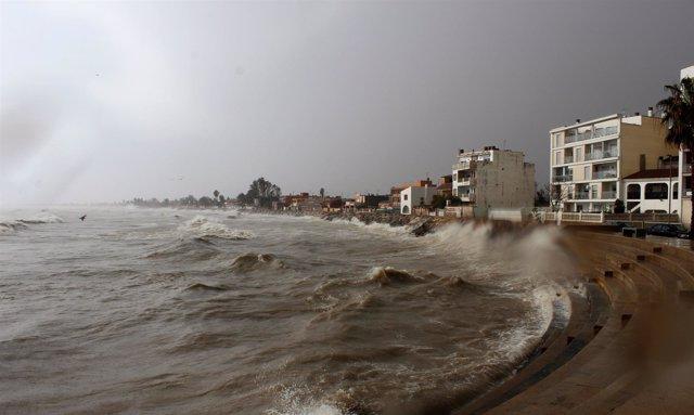 Imagen del temporal en Burriana