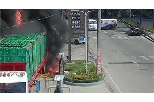 VÍDEO/ Brutal accidente en República Dominicana deja varios heridos y  una gasolinera incendiada