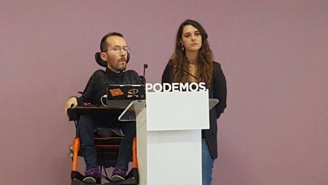 Pablo Echenique y Noelia Vera en rueda de prensa