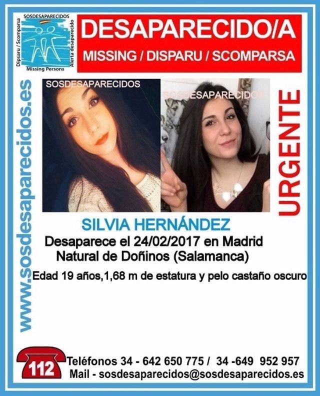 Silvia Hernández desaparecida en Madrid.