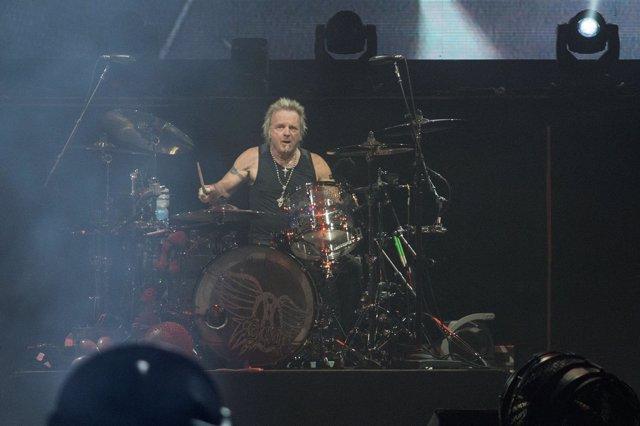 Image #: 38589274    Joey Kramer, drummer for Aerosmith, performs at Van Andel A