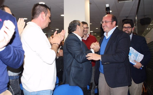 Pedro Antonio Sánchez a su llegada a la Junta Directiva del PP