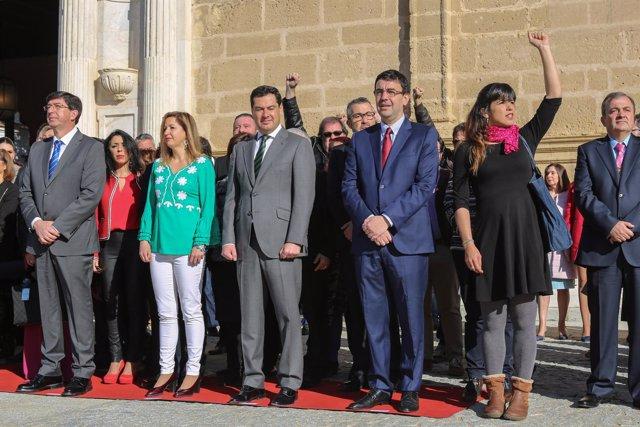 Juan Marín, junto a Lizárraga, Moreno, Jiménez y Rodríguez, en los actos del 28F