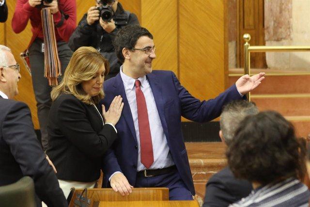 Mario Jiménez y Susana Díaz, en el pleno institucional con motivo del 28F