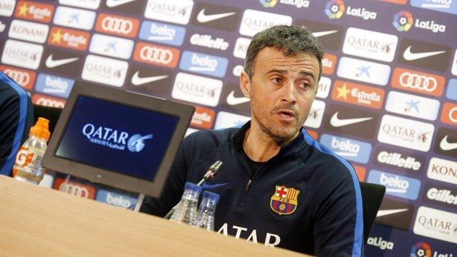 Luis Enrique, entrenador del Barça, en rueda de prensa