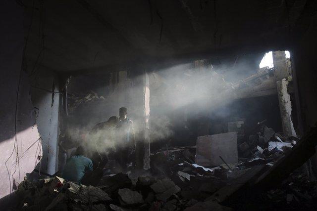 Casa palestina destruida por un bombardeo israelí en Gaza