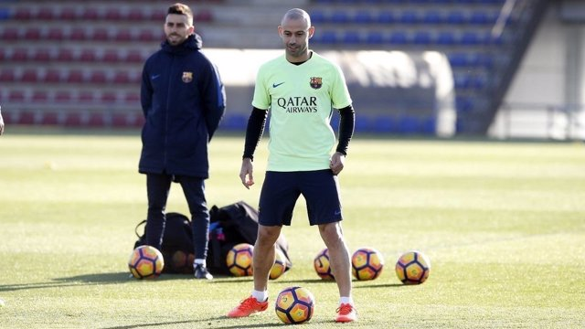 Javier Mascherano en un entrenamiento