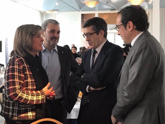 Núria Marín, Jaume Collboni (PSC), Patxi López (PSOE), Josep Rull (PDeCAT)
