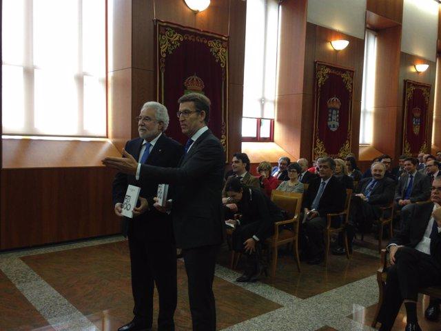 El presidente de la Xunta, Alberto Núñez Feijóo, con el del Parlamento