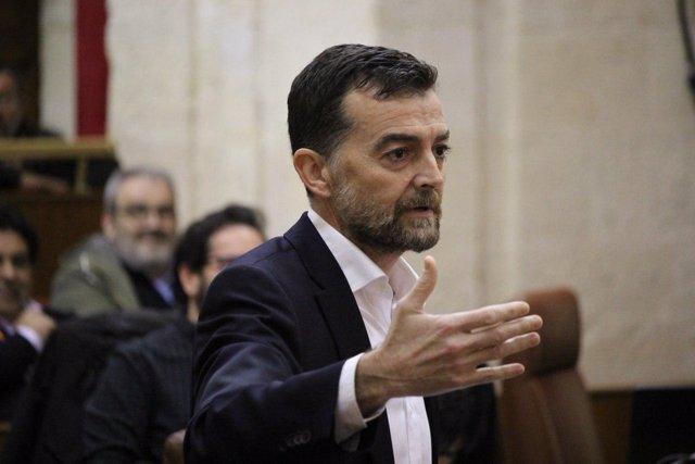 Antonio Maíllo, en su intervención en el pleno del Parlamento