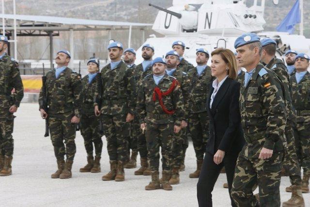 La ministra de Defensa, María Dolores de Cospedal, en Líbano